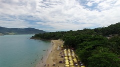Aerial View of Praia do Curral (Curral Beach) in Ilhabela, Sao Paulo, Brazil Stock Footage
