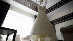 Beautiful wedding dresses in a Stock Footage