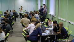Students are divided into teams waiting for business training in university. The Stock Footage