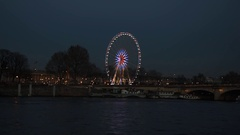 Roue de Paris on Place Concorde in the evening Stock Footage