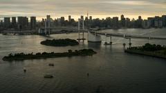 4K Day to Night timelapse of Rainbow Bridge, Tokyo, Japan Stock Footage