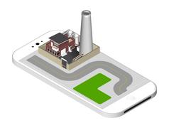 Isometric icon representing factory building with a pipe, cisternae, fence Piirros