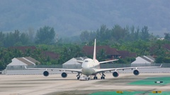 Big airplane with airport staff Stock Footage