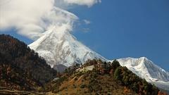 Himalayas mountain landscape, Nepal. Timelapse. Stock Footage