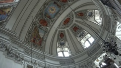 4k Baroque dome cathedral Salzburg Austria overhead panning Stock Footage