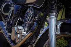 Close up old vintage motorcycle cylinder block Stock Photos