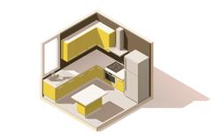 Vector isometric low poly kitchen room icon Stock Illustration