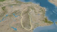 Revolution around Sierra Morena mountain range - glowed. Satellite imagery Stock Footage