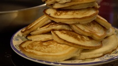 Isolated Closeup of Large Stack of Delicious Pancakes Stock Footage