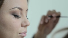Eyelash at the beauty salon, the process of building and lengthening lashes Stock Footage