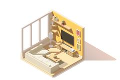 Vector isometric low poly living room icon Stock Illustration