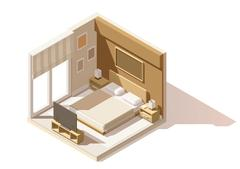 Vector isometric low poly bedroom icon Stock Illustration