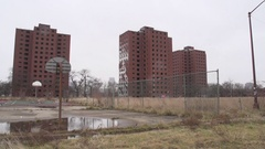 Detroit MI. Brewster Projects, Multiple Views, Wet, Rainy Day. Stock Footage