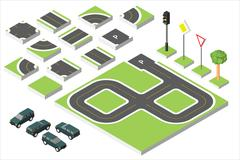 Set Isometric road and Vector Cars, Common road traffic regulatory. Vector Stock Illustration