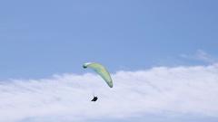Paragliding Sport On Seashore Stock Footage