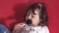 Emotions of a beautiful little girl Stock Footage