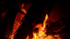 Burning fire in a home fireplace Stock Footage