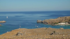 Scenery of mediterranean sea with the village of Lindos (Greece) Stock Footage