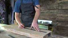 Modern carpenter at work Stock Footage