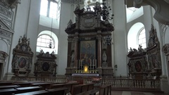 4k Baroque dome cathedral Salzburg Austria panning with organ and altar Stock Footage