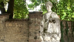 Statue of a young medieval woman Stock Footage