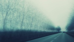 Driving pov, winter countryside road time lapse Stock Footage