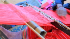 Dara-ang thai hill tribe fabric weaver handmade Stock Footage