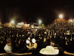 Masses of Hasidic Jews throng to Meron to celebrate Lag B'Omer 360 video Stock Footage