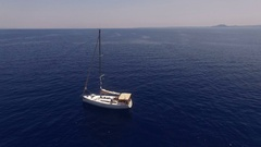 The yacht drifting in the sea. Stock Footage