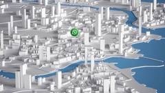 Whatsapp Icon on Aerial View of City Buildings 3D Rendering Animation 4K Stock Footage