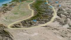 Glide over Sierra Nevada mountain range - glowed. Satellite imagery Stock Footage