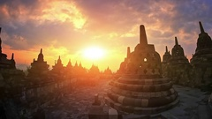 Amazing view of Borobudur temple architecture at sunset during trip in Indonesia Stock Footage