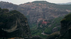 Rainy day in Meteora Stock Footage