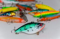 Colored wobblers for fishing Stock Photos