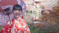 Japanese Kimono girl with paracel in japanese gardens  Stock Footage