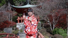Beautiful Japanese girl wearing Kimono infront of temple Gardens  Stock Footage