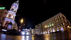 Time lapse view: Cristmas illuminated City Duma tower and Nevsky prospect, SPb Stock Footage