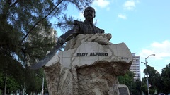 Eloy Alfaro Monument at the avenue of the presidents. Havana Stock Footage