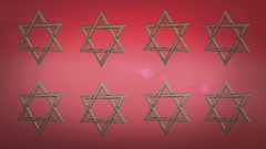 Computer generated animation of stars of david Stock Footage