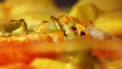 Cooking fish and vegetables in the stove Stock Footage