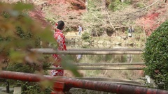 Japanese gardens in Kyoto beautiful Kimono girl walking Stock Footage