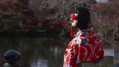 Beuaitful Japanese women wearing Kimono in Japanese gardens  Stock Footage