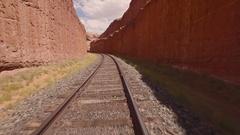 4k aerial drone footage of train tracks in the Utah desert Stock Footage