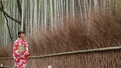 Beautiful Japanese Kimono girl walking through bamboo forest in Kyoto Japan  Stock Footage