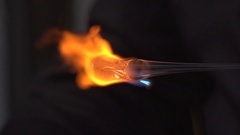 Close up of Glass Blowing Stock Footage