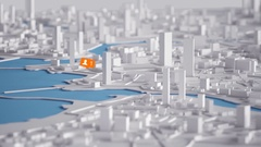 User Orange Icon on Aerial View of City Buildings 3D Rendering Animation 4K Stock Footage