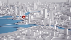 Aerial View of City Buildings 3D Rendering With Red Shopping Icon Map 4K An.. Stock Footage