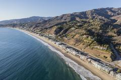 Aerial of Los Angeles County Beach Houses Stock Photos