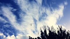 Silhouetted glider soars above in blue sky Stock Footage