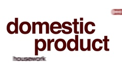 Domestic product flight animated word cloud. Stock Footage